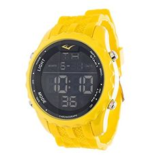Everlast Jumbo Mens Digital Round Sport LED Yellow Watch with Silicone Strap ** Click image to review more details.Note:It is affiliate link to Amazon.