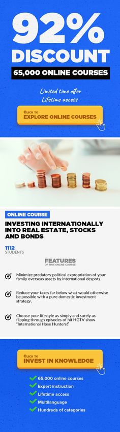 Investing Internationally into Real Estate, Stocks and Bonds Finance, Business  A-Z guide to overseas investments covers major themes of property, equity, and debt. WARNING: DON'T EVEN THINK OF BUYING REAL ESTATE IN MEXICO UNTIL YOU COMPLETE THIS COURSE! Updated Monday, May 23,2016, 10:41A.M. Your investing fate overseas need not be in the hands of ultra-nationalist machete wielding drunks, ...