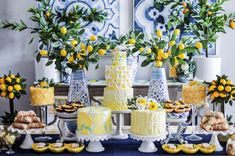 [New] The 10 Best Recipe Ideas Today (with Pictures) - What a gorgeous lemon party display from . I love those blue and white vases. Blue and yellow together are so classic! Puffy Slime Recipe, Lemon Party, Lemon Desserts, Baby Shower, For Love And Lemons, Event Decor, Party Themes, Blue Party Decorations, Wedding Themes