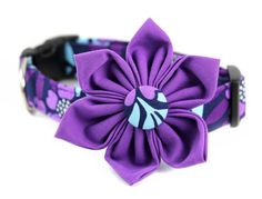Floral Dog Collar and Flower Set - Bellflower - Made to Order in Your Choice of Size