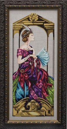 Venetian Opulence - Mirabilia Cross Stitch Pattern. Model stitched on 32 Ct. Natural Brown linen with DMC floss, Kreinik #4 Braid (002C), Rainbow Gallery Wisper