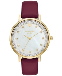 9d1f91813372 kate spade new york Women s Monterey Merlot Leather Strap Watch 38mm  KSW1170 Jewelry   Watches - Watches - Macy s