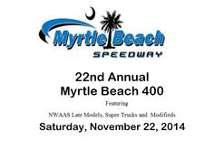 Grab your family and friends because drivers are starting their engines for a night of racing tomorrow night at the Myrtle Beach Speedway!  Practice starts today!  Click on the pin for more info and go to our website for other Myrtle Beach, South Carolina area events!