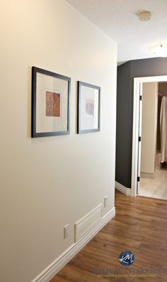 Sherwin Williams Creamy in a dark hallway with Benjamin Moore Gray Feature Wall or accent wall. Kylie M interiors. Laminate wood flooring and Cloud White trim