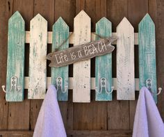 Beachy Picket Fence Towel/Coat Rack  Cottage Chic Towel Rack  Shabby Chic Coat Rack by LowerArkCrafts on Etsy