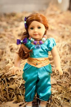 Introduce her to a whole new world as Jasmine. 29 Incredible Character Transformations For Your American Girl Doll Bitty Baby Clothes, Girl Doll Clothes, Doll Clothes Patterns, Girl Dolls, Ag Dolls, Doll Patterns, American Girl Doll Costumes, American Girl Clothes, Girl Costumes