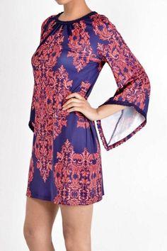 Crochet Trim Flare Sleeve Dress