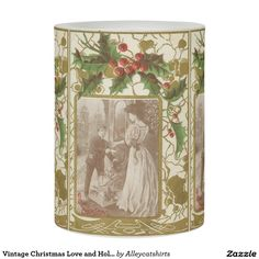 Vintage Christmas Love and Holly Flameless Candle