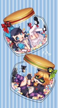 Chat Noir and Cheshire and Marinette as Alice. Cute! (Miraculous Ladybug, Alice in Wonderland)