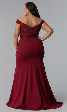 Long Embroidered-Lace-Bodice Off-Shoulder Prom Dress - Mein Stil Plus Size Evening Gown, Plus Size Gowns, Plus Size Prom Dresses, Formal Evening Dresses, Mermaid Prom Dresses Lace, Lace Dress, Lace Bodice, Traditional African Clothing, Blush Bridesmaid Dresses