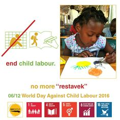 An estimated 215 million children are trapped in child labour worldwide, of wich more than half are exposed to the worst forms of child labour such as work in hazardous environments, slavery or other forms of forced labour, illicit activities including drug trafficking and prostitution, and involvement. Children in Haiti working as slaves are called restavek.