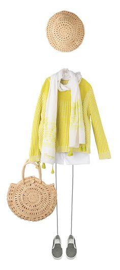 Sweater Acid yellow Amber shorts Milk White Aiko scarf Acid yellow Sans-Arcidet for Bonpoint Natural Sans-Arcidet for Bonpoint Natural Slip-on shoes Black