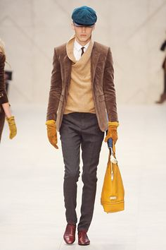 burberry fall 2012. love the pop of yellow with grey and camel