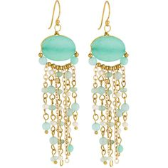 Panacea Golden Stone Fringe Drop Earrings (460 THB) ❤ liked on Polyvore featuring jewelry, earrings, mint, mint green drop earrings, mint jewelry, beaded earrings, round drop earrings and beaded jewelry