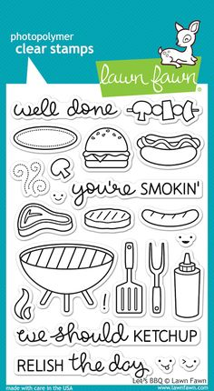 Lawn Fawn Clear Stamps - Let's BBQ. Discover more accessories by Lawn Fawn at LoveCrafts. From knitting & crochet yarn and patterns to embroidery & cross stitch supplies! Shop all the craft materials you need to start your next project. Lawn Fawn Stamps, Tampons, Planner Organization, Copics, Stamp Collecting, My Stamp, Digital Stamps, Clear Stamps, Coloring Pages