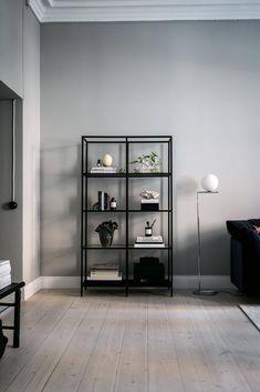 """Ikea """"Vittsjö"""" shelving unit decor apartment she. Living Room Tiles, Home Living Room, Shelving Unit Decor, Living Room Decor Apartment, Ikea Interior, Condo Living Room, House Interior, Apartment Decor, Shelving Units Living Room"""
