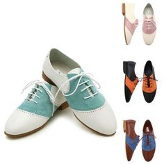 Charming Contrast Derby Flat-Shoes 119