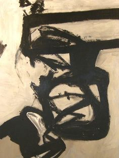 Abstract Expressionism in the style of Franz Kline: mid-century modern art painting