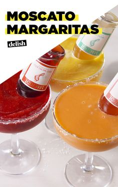 Which of these Moscato Margaritas flavors are you downing alll summer? Get the recipe at Delish.com. #summer #margarita #moscato #wine #sparklingwine #booze #alcohol #fruit #barefoot #cocktails #tequila