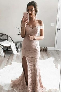 Mermaid Off-the-Shoulder Split-Side Sweep Train Pink Lace Prom Dress PG434