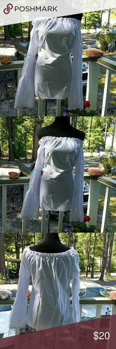 Off-the-shoulder white blouse Off-the-shoulder white blouse Westfall cascading sleeves.  Pirate Style Tops Blouses