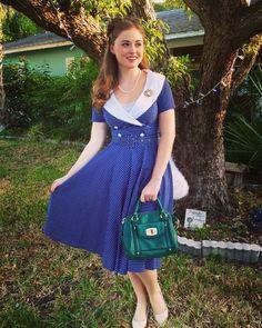 #vintageinspired #collared #bluedress #ladylike #daytimeparty