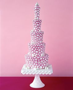 Irregular elongated tiers are covered with pearlized polka dots on pink hand-painted fondant. Cake by Margaret Braun, $2,200, serves 120.