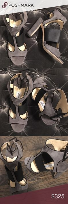 Jimmy Choo sandal Jimmy Choo sandal with leather trim. 4'' covered heel. Open toe. T -strap vamp with band. Self- tie back closure. Smooth leather outsole. Moira made in Italy. New w/no box. Jimmy Choo Shoes Sandals