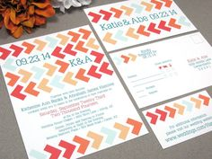 Arrows Chevron Wedding Invitation Set by RunkPock Designs : Modern Southwestern Invitation shown in shades of red & orange with teal mint