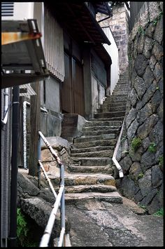 Back alley stairs, Onomichi, Hiroshima Japanese Buildings, Japanese Streets, Scenery Background, Background Pictures, Old Abandoned Buildings, Ghost House, Beautiful Stairs, Japan Street, Aesthetic Japan