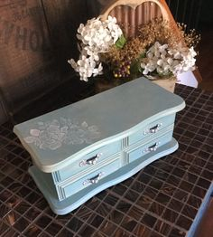 Vintage Upcycled Hand Painted Jewelry Box // Shabby Chic Decor Jewelry Chest by ByeByBirdieDesigns on Etsy https://www.etsy.com/listing/242399289/vintage-upcycled-hand-painted-jewelry