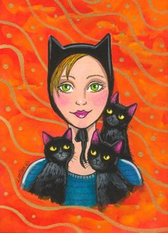 """Cat Lady and Friends"" par Lisa Nelson"