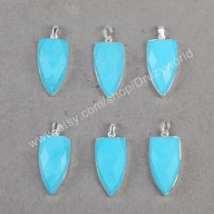 Wholesale Silver  Plated Shield Blue Howlite by Druzyworld on Etsy