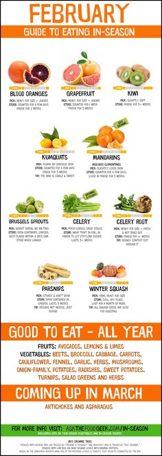 February Seasonal Produce Chart: Fruits vegetables to eat this month including citrus and winter squash. Plus winter recipes so you know what to eat in February. The recipes use ingredients and produce that are all available this month so you can eat with Fruit Season Chart, Fruit In Season, Season Fruits And Vegetables, In Season Produce, Healthy Fruits And Vegetables, Vegetable Chart, Vegan Nutrition, Nutrition Chart, Nutrition Action