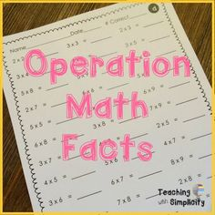 Operation Math Facts, a cooperative learning game for practicing multiplication facts.