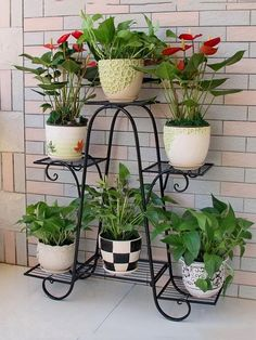 plant stands lower Racks Iron Plant Stand Flower Pot Garden Storage Shelf for Balcony Outdoor for sa Indoor Flower Pots, Pot Jardin, Decoration Plante, Iron Plant, Diy Plant Stand, Outdoor Plant Stands, Metal Plant Stand, Flower Stands, Plant Shelves