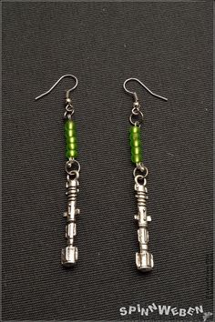 Sonic Screwdriver Earrings  Dr. Who Metal silver by SpinnWeben