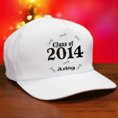 #Classof2014 Personalized #Graduation Baseball Hats. Everyone at the Graduation Party is sure to know who the Graduate is with this handsome Personalized Class of 2014 Graduation Baseball Hats. Let your graduate show off at the party in a custom printed graduation hat that will remain as a graduation keepsake well after the party has ended. Your Custom Printed Graduation Hat is available on our premium white cotton/poly adjustable back strap for a one size fits all baseball hat.