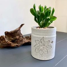 Make a cool recessed design in a concrete succulent planter. A step by step tutorial for making this either with a Cricut or by hand.
