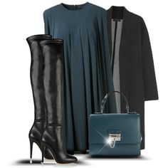A fashion look from September 2015 featuring CO dresses, Calvin Klein Collection coats and Jimmy Choo boots. Browse and shop related looks.