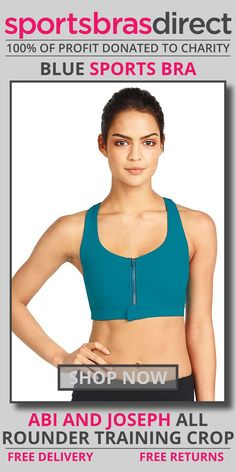 Feel supported through your next workout in this high impact, wirefree sports bra featuring removable padded cups, a racerback and a front zip opening for easy fitting. The All Rounder Training Blue Sports Crop by Abi and Joseph has been designed with a zip front opening for ease of fitting and features adjustable straps and removable cups so you can customise your fit. Shop Now! #bra #sportsbra #blue #bluebra #bluesportsbra