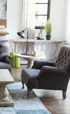 Gray tufted armchair is an understated, classic and timeless piece