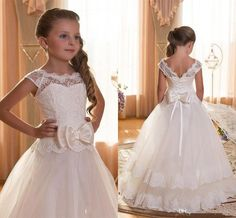 2016 New Cheap Flower Girls Dresses For Wedding Ivory White Lace Illusion Neck Bow Cap Sleeves Party Children Kids Party Communion Gowns Online with $79.59/Piece on Haiyan4419's Store | DHgate.com