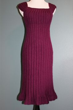 Womens Crochet Sweater Dress Baby Doll Dress MAgenta