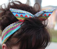 Dolly Bow Wire Headband Aztec Funky Designs Rockabilly Pin Up Hair Accessory for Teens Women Girls