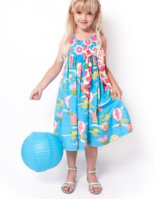 Take a look at this Jelly the Pug Aqua Up Up Away Dress - Infant, Toddler & Girls on zulily today!