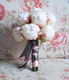 Ivory Peony Wedding Bouquet  Ivory Blush and Gray by @KateSaidYes, $100.00.  www.katesaidyes.etsy.com