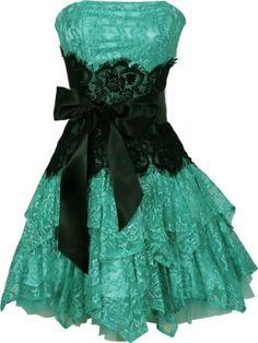 Amazon.com: Strapless Bustier Contrast Lace and Crinoline Ruffle Prom Mini Dress Junior Plus Size: Clothing