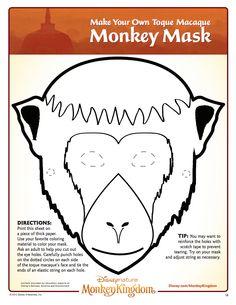 Monkey Kingdom Monkey Mask Monkey Kingdom, Common Core Science, Nature Movies, Monkey Mask, Printable Masks, Disney Printables, Halloween Coloring Pages, High School Art, Jungle Theme