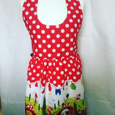Your place to buy and sell all things handmade Photo Colour, Color, Retro Apron, Green Fabric, Pet Gifts, New Trends, Gnomes, Red And White, Girl Outfits